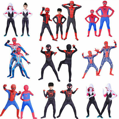 US KY Kids boys Spiderman Cosplay Costume Halloween Superhero Zentai Jumpsuit
