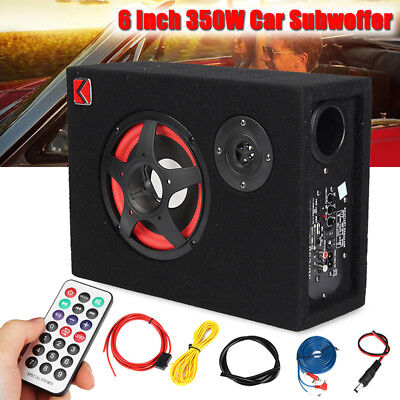 350W Under Seat 6'' Car Active Subwoofer Speaker Stereo Bass Audio Powered Amp `
