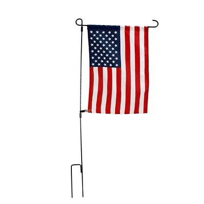 Iron Garden Flag Pole Stand Holder Yard Outdoor Decor Stake