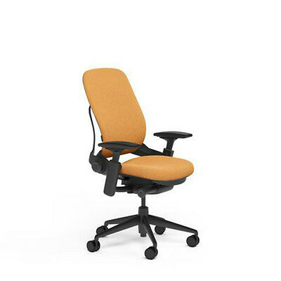 New Large Steelcase Leap Plus Adjustable Desk Chair - Buzz2 Carrot Fabric 500 Lb