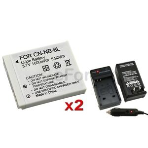2x NB-6L Battery+Charger for Canon SD1200 S90 SD980 IS SX240 HS SX260 HS