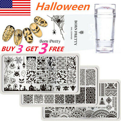 Pretty Halloween Nails (Christmas Halloween BORN PRETTY Nail Stamping Plates Image Template Stamper)