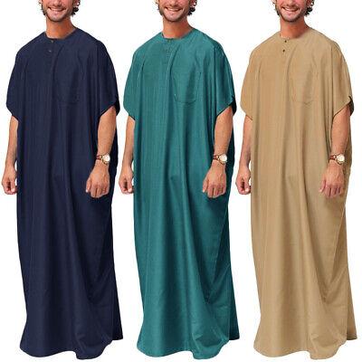 Mens Muslim Clothing Islamic Saudi Arab Thobe Jubba Abaya Long Maxi Kaftan Thobe