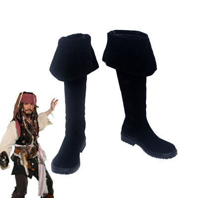 Pirates of the Caribbean Captain Jack Sparrow Boots Cosplay Shoes Handmade