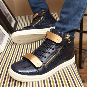 fashion Men's Leather Flats High Top Metal Buckle Zipper Lace Up
