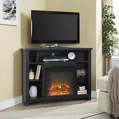 Corner Fireplace TV Stand BLACK Storage Cabinet Electric Space Heater Up To 48""