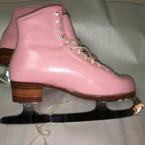 Riedell Pink VTG Figure Skates size 7B Gold Seal blades size 10""