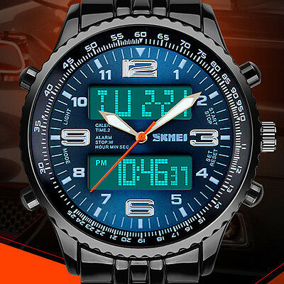 Sunjas LED Herren Uhr Armbanduhr Blau Edelstahl Quarzuhr Wasserdicht