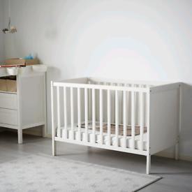 Ikea sundvik cot with 2x mattress white
