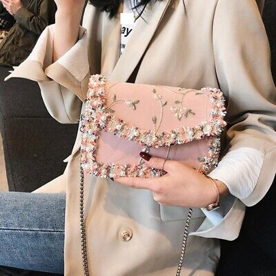 Lace Floral Shoulder Handbag Woman Wedding Party Bag Summer Chain Messenger Bag