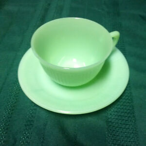 Vintage 1950's Green Fire King Cup and Saucer London Ontario image 1