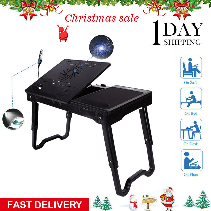 New Foldable Laptop Folding Cooling Tray Desk Stand Bed Sofa CouchW/Cooling Fan