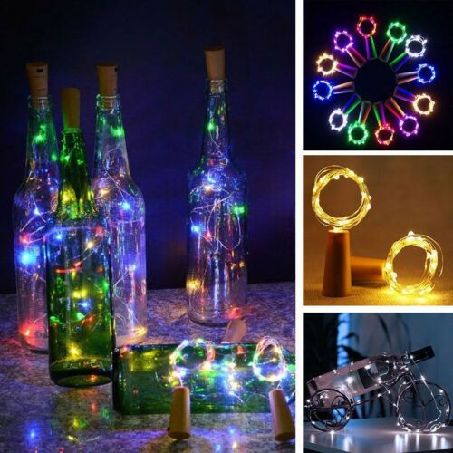 8PCS 20LED Bottle Fairy String Lights Battery Cork Copper Wire Festival Party UK