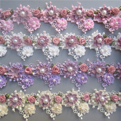 Ribbon Laces (5X Vintage 3D Flower Pearl Rose Lace Trim Ribbon Wedding Applique Sewing)
