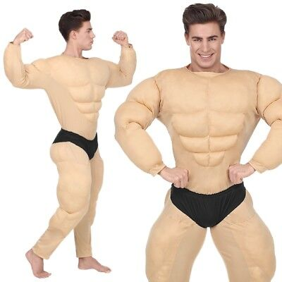 BODYBUILDER Muskelprotz 54 (XL) Muskelshirt Herren Kostüm Overall mit Slip - Herren Muskelprotz Kostüm