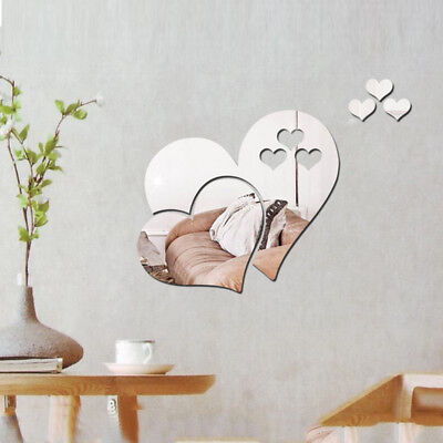 3D Mirror Love Heart Wall Sticker Decal Room Art Mural HOME Decor Removable GIFT ()