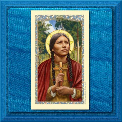 Native American Saint Kateri Tekakwitha LAMINATED Holy Card GILDED GOLD