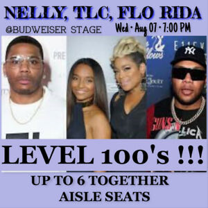 NELLY, TLC, FLO RIDA @BUDWEISER STAGE-Sec.100 ROW 7 TICKETS!!!