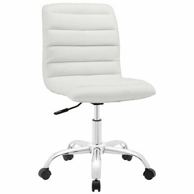 Modway Ripple Mid Back Armless Swivel Office Chair In White