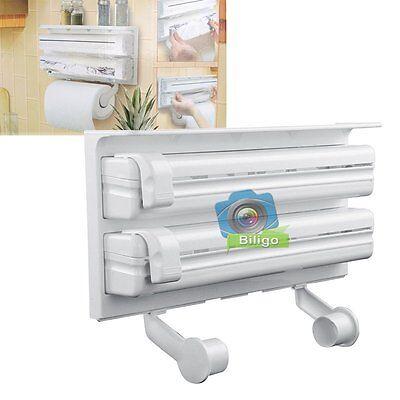 Kitchen Foil Cling Film Towel Roll Holder Wall Mounted Rack Storage Dispenser