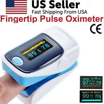Finger Pulse Oximeter Blood Oxygen Spo2 Monitor Pr Pi Heart Rate Blue Fda Ce