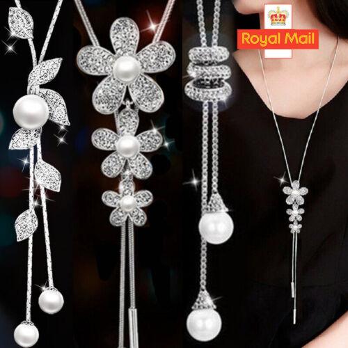 Jewellery - Women Long Tassel Pearl Flower Crystal Pendant Necklace Chain Sweater Jewelry UK