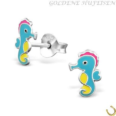 Seepferdchen Ohrstecker 925 Echt Silber Mädchen Ohrringe xc022