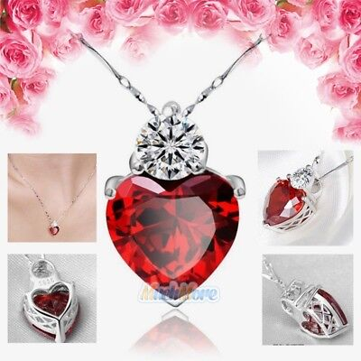 Jewellery - 925 Sterling Silver Red Garnet Heart Crystal Pendant Necklace Valentine Gift Box