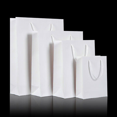 For sale 50pcs White Kraft Paper Carry Bags Shopping Gift Bag with Cloth Handle 5 sizes