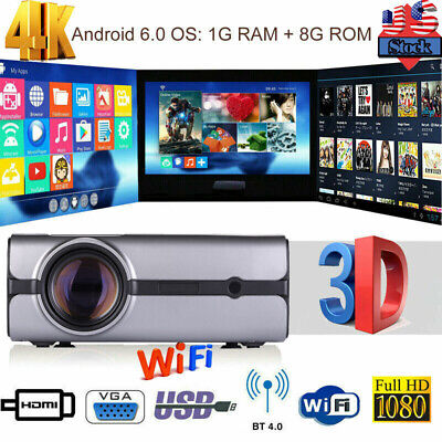 4K 1080P HD Smart LED Projector 3D WiFi Android 6.0 BT Wireless Home Theater 8GB