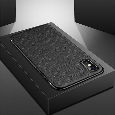 For iPhone X 8 7 6s Plus Luxury Slim Leather Case Shockproof Hybrid Rubber Cover