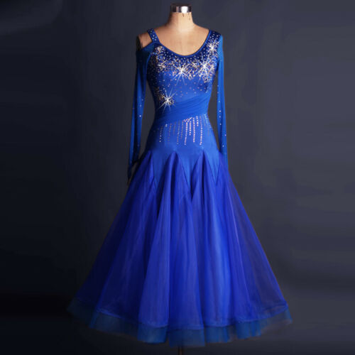 Ballroom Dance Dress Modern Waltz Standard Competition Blue Flower Dress W101