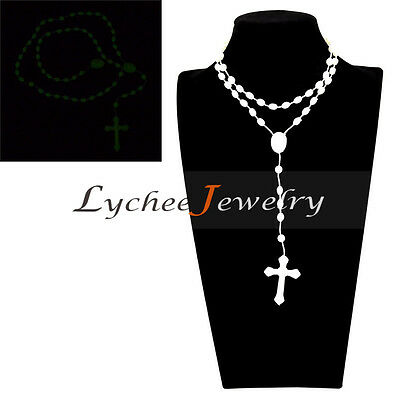 Glow In The Dark Cross (Luminous Beads Cross Necklace Glow in The Dark Beaded Pendant Jewelry Free)