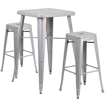 23.75 Industrial Restaurant Table Set In Silver Metal Wbar Table 2 Stools