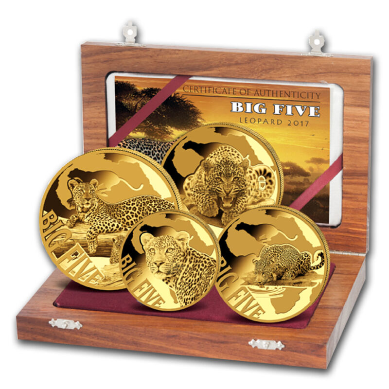 2017 Cameroon 4-coin Gold Leopard Proof Set (the Big Five) - Sku #150352