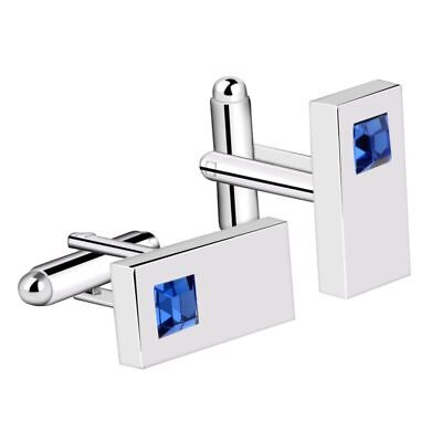 Blue Mens Cufflinks Diamond Crystal Rectangle Silver Plated Suit Cuff Links Plated Rectangle Cufflinks