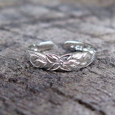 Hawaiian 925K Sterling Silver Scrolling Cut Out Flower Toe Ring 4mm TR1041