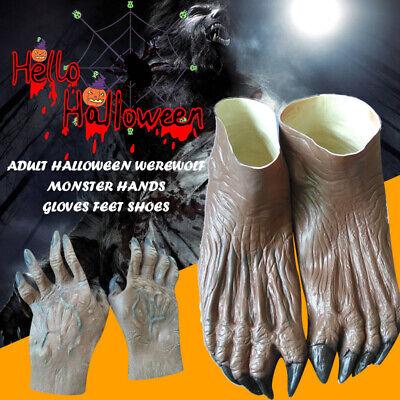 Werwolf Monster Hände Handschuhe & Füße Schuhe Adult Halloween (Werwolf Hände Kostüm)