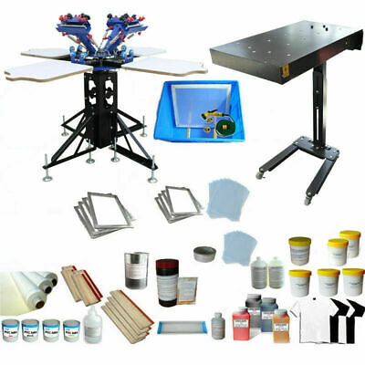 4 Color 4 Station Micro-adjust Screen Printing Kit With Flash Dryer Ink Supplies