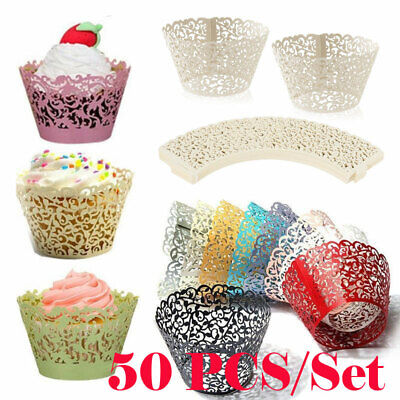 Cupcake Liners Wedding (50pcs Cupcake Wrappers Filigree Vine Lace Cup Wrap Liners Wedding Party)