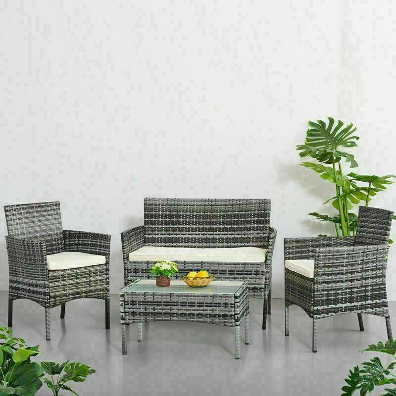 Garden Furniture - 4 piece Rattan Garden Set Furniture Set Chair Sofa Table Set Garden Patio