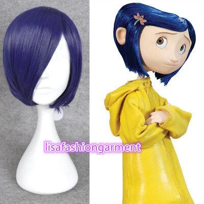 Coraline Cosplay Wig Short Bob Straight Blue Hair Halloween Full Wigs + WIG - Coraline Halloween