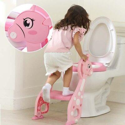 Rosa Toilettentrainer Toilettensitz Lerntöpfchen WC Sitz mit Leiter Treppe