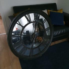 Large wall clock mirror