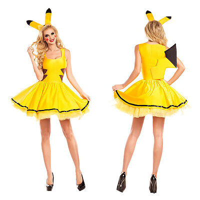 Pokemon Kostüm Cosplay Pikachu Maskerade Kostüme Kleid + Kopfbedeckung (Damen Maskerade Kostüm)
