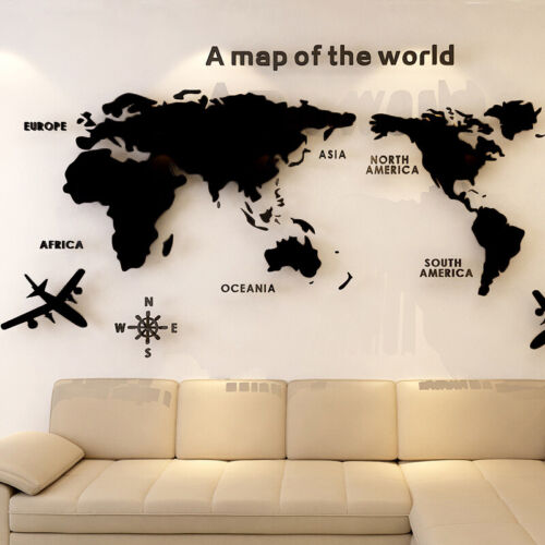 World Map Wall Stickers 3D Crystal Acrylic Decals