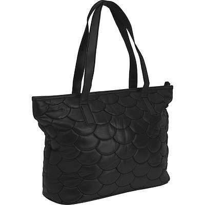 New Quilted Black Genuine Leather Purse Shoulder Strap Handbag Bag Tote Satchel