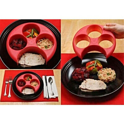 (Meal Measure Portion Control Plate Red Diet Weight Loss Healthy Eating Tool)