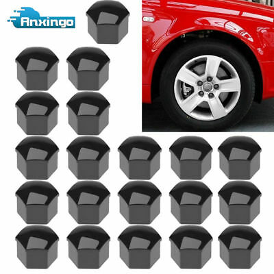 20 X Universal 17mm Lug Bolt Nut Covers Caps & Tool for Car Wheel Black New