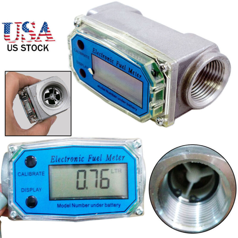 "BSPT/NPT 1"" 200L/MIN LED Turbine Digital Diesel Fuel Flow Meter Gear Flow Gauge"